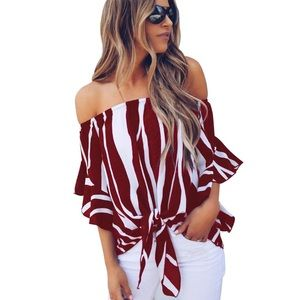 Tops - (Last 2) Off the shoulder top with a front tie